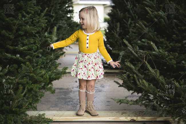 Smiling girl picking out a Christmas tree