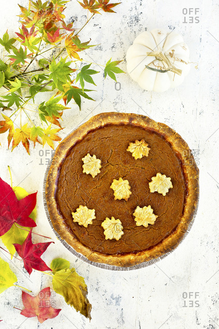 Whole pumpkin pie with autumn leaves