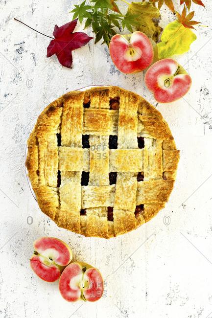 Whole apple pie with lattice top crust