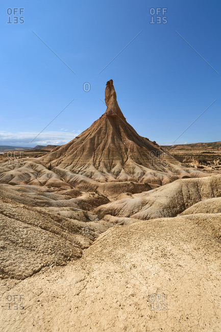 Picturesque view of rough stony hills in badlands of Bardenas Reales in Navarre, Spain