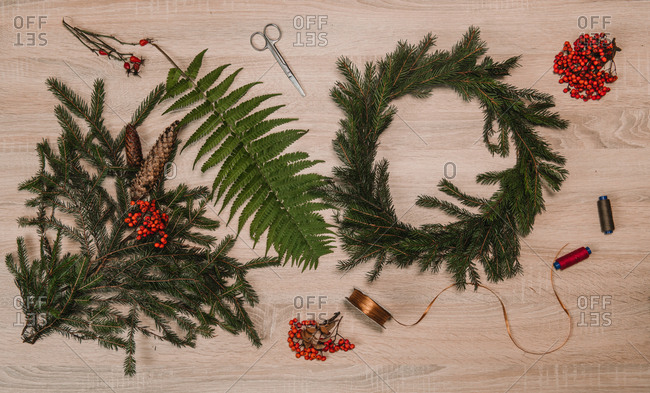 wooden table with christmas decoration