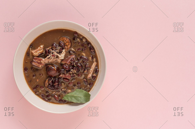 Red bean stew with Pork Meat. Homemade. Flat lay. Top view