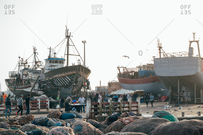 Essaouira, Morocco - September 21, 2018: Bustling Moroccan fishing port