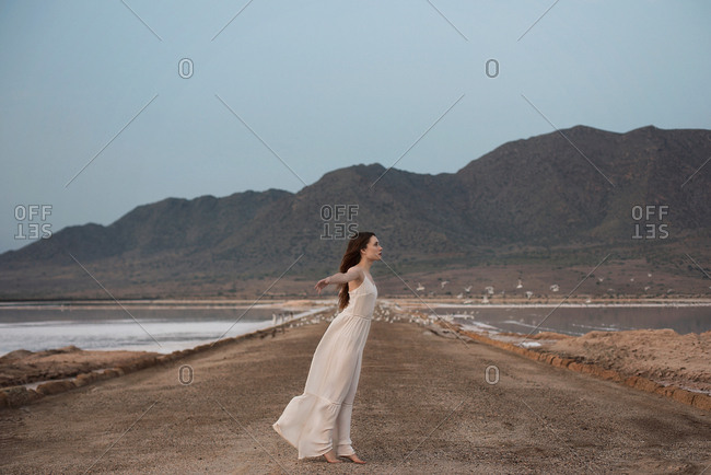 Side view of beautiful young female in elegant dress stretching out arms while standing on path between two ponds in amazing countryside