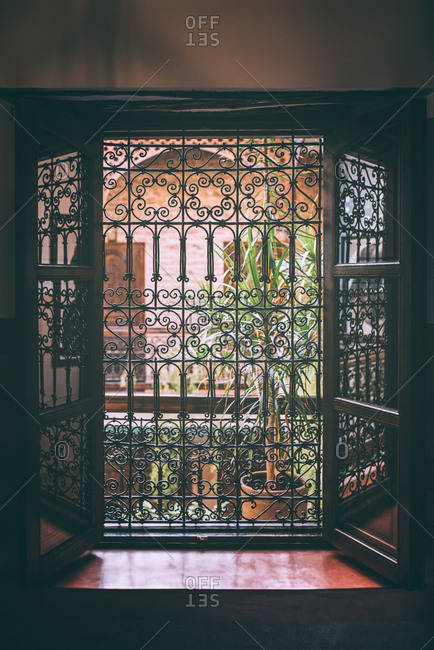Vintage windows with security steel bars
