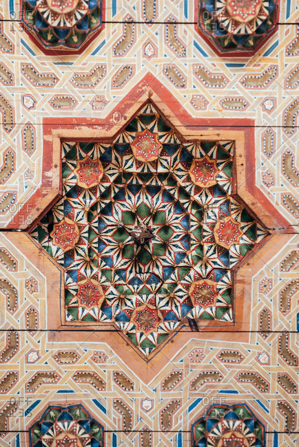 Beautiful ceiling art geometrically handmade painted and sculpted