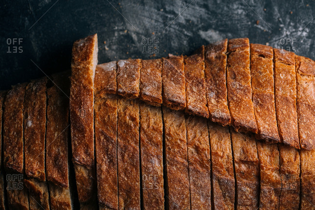 Slices of homemade rustic bread