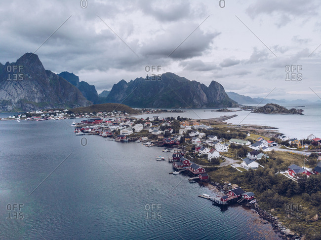 Aerial view of coastal town