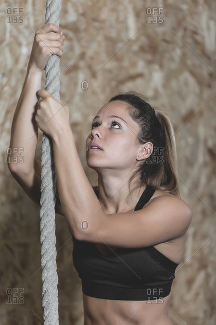 Young slim concentrated lady in sportswear doing climb exercise with rope in gym