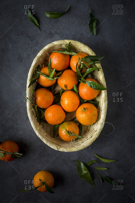 Tangerines in a wicker basket