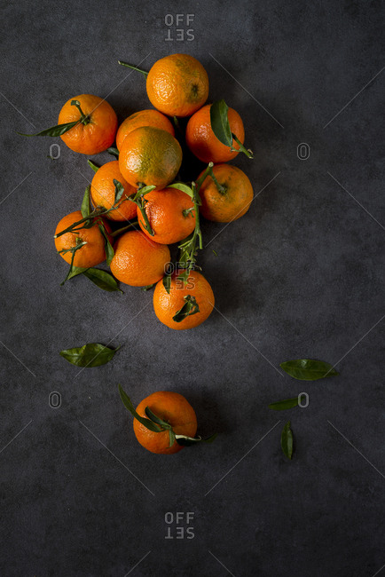 Tangerine pile on a table