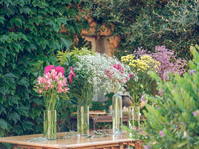 Beautiful bouquets in garden