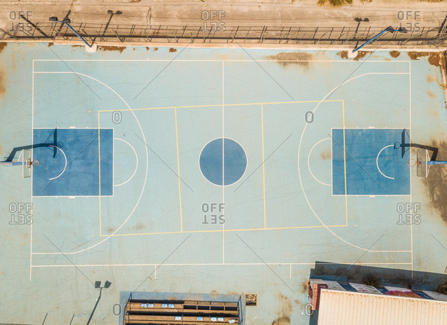 Aerial view of basketball court in Archea Korinthos, Greece.
