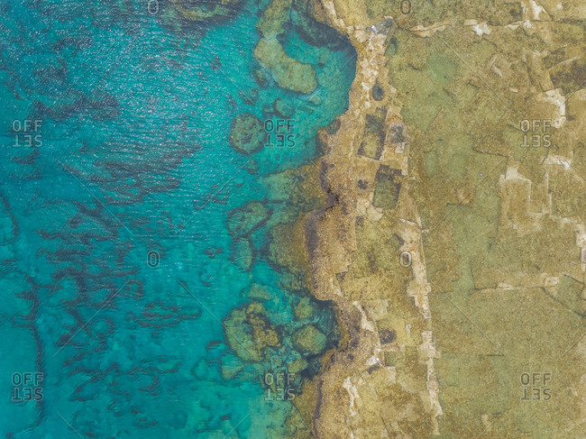 Aerial view of rocky shore of Rhodes island, Greece.