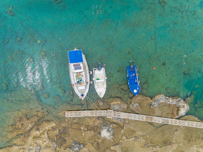 Aerial view group of boats anchored on dock, Rhodes island, Greece.