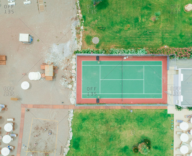 Aerial view of tennis court on beach on Rhodes island, Greece.
