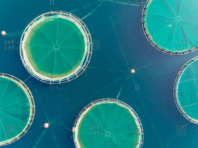Close up aerial view of circular fish farm pools in the beautiful Mediterranean sea, Greece