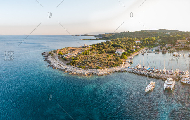 Aerial view of boats in harbor on Kioni island, Greece.