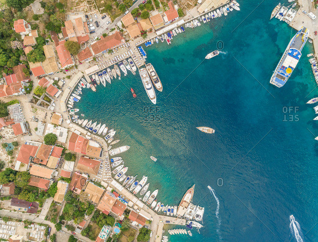Aerial view of harbor on the coast of Fiskardo, Greece.