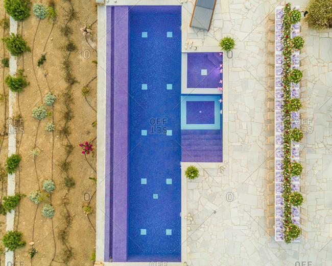 Aerial view of pool in a luxury villa in Paros, Chrisi Akti, Greece.