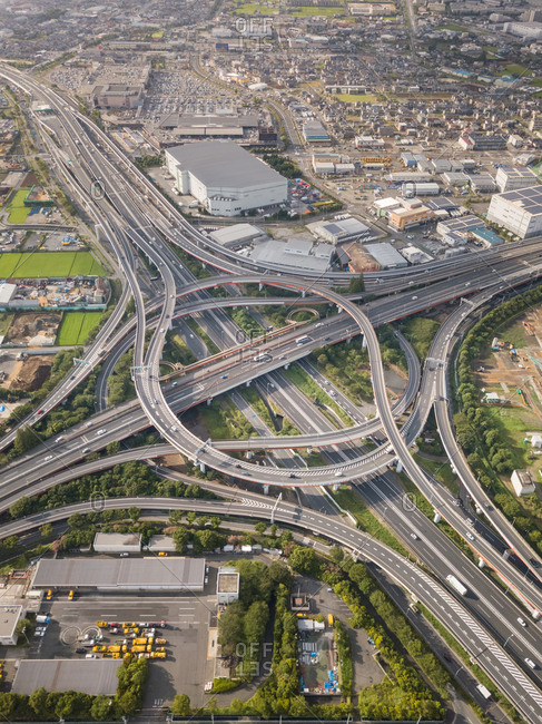 Aerial view of multi level interchange in Toyko, Japan.