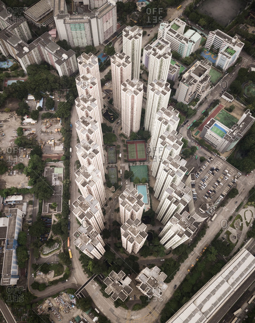 Aerial view of residential tower blocks in Hong Kong, China.