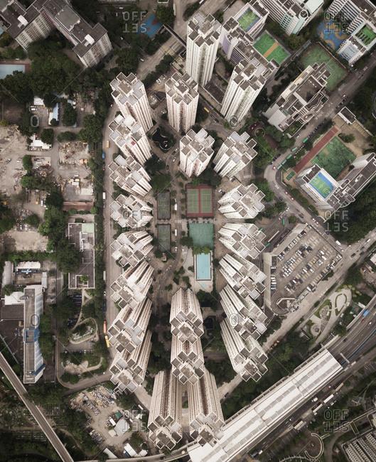 Aerial close up view of residential tower blocks in Hong Kong, China.