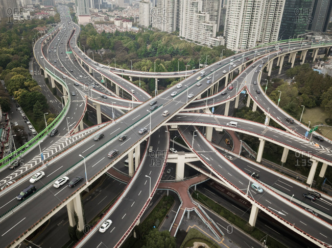 Aerial view of multi level interchange in Shanghai, China.