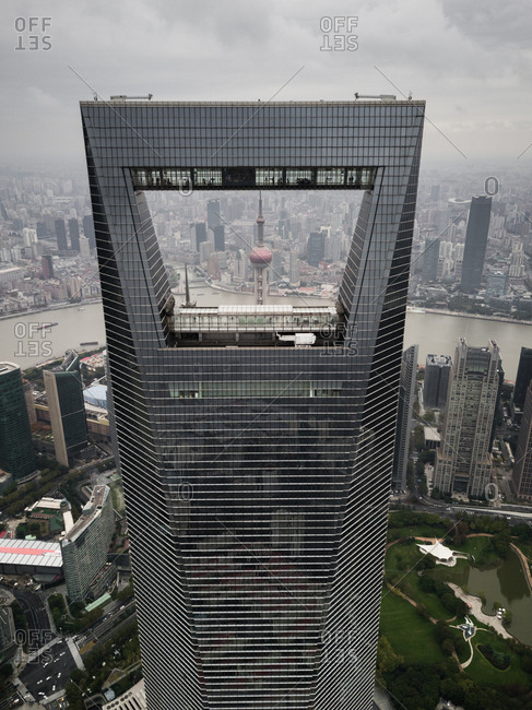 Shanghai - November 12, 2018: Close up of modern building in Pudong business district