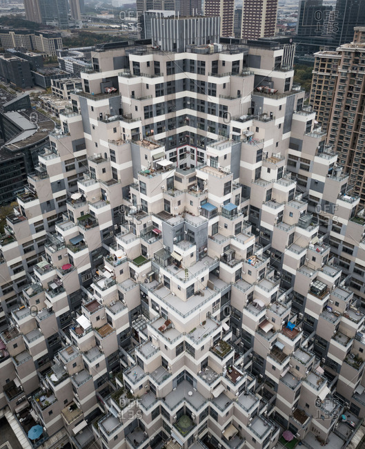 Aerial view of residential tower block in Shanghai, China.