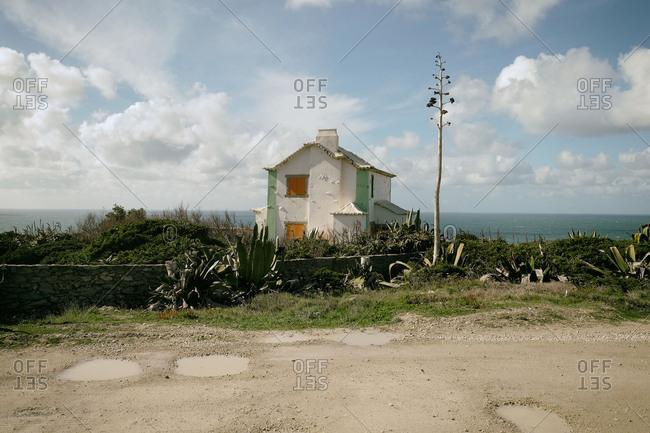 House, sea, coast, cliff, rocks, Atlantic, Portugal,