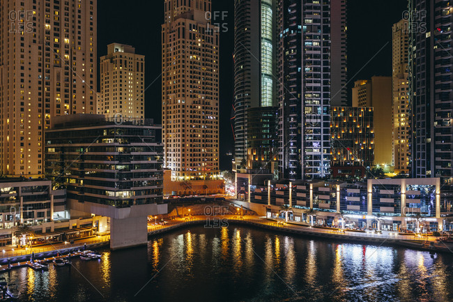 March 16, 2018: Dubai Marina at night
