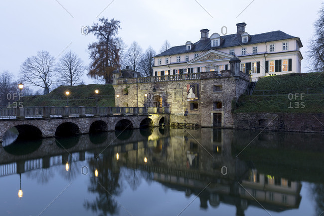 December 1, 2017: Castle moat with ramparts and castle, Bad Pyrmont, Emmertal, Weser Uplands, Lower Saxony, Germany