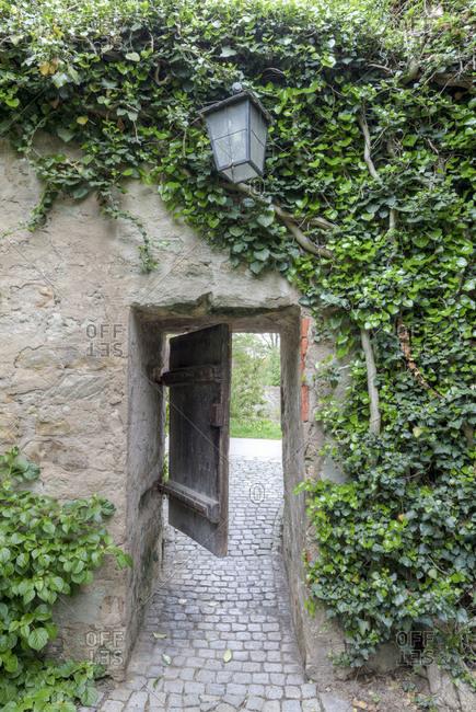 Passage, city wall, Dinkelsbuhl, Middle Franconia, Franconia, Bavaria, Germany