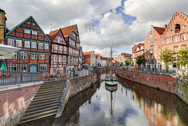 June 13, 2017: Hanse harbour, half-timbered houses, Stade, Altes Land, Niederelbe, Lower Saxony, Northern Germany, Germany, Europe
