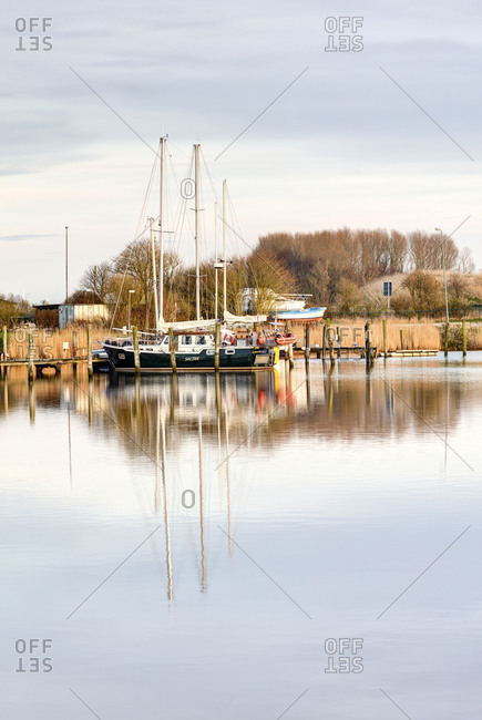 March 30, 2017: Boats at the marina, Harlesiel, East Frisia, Lower Saxony, Germany,