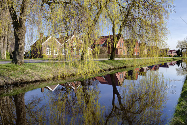 Idyll at the Wiek, Spring, Papenburg, Emsland, Lower Saxony, Germany,