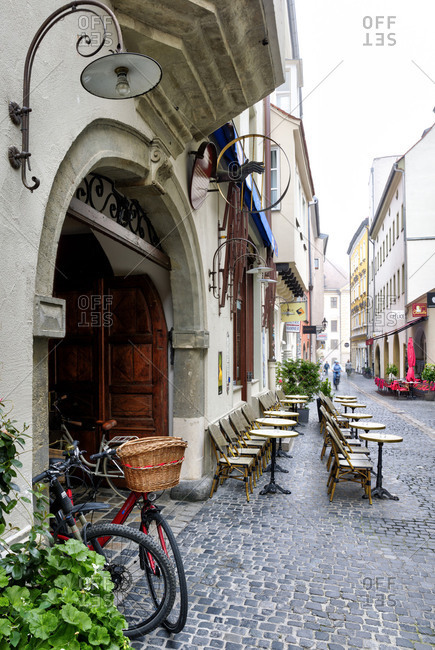 October 14, 2017: Facade, pub, Alley, old town, Autumn, Historic, Regensburg, Upper Palatinate, Bavaria, Germany, Europe