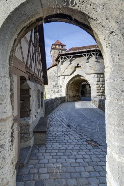 Castle gate and castle garden in Rothenburg ob der Tauber, Franconia, Bavaria, Germany, Europe