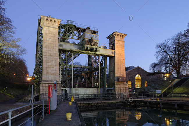 January 21, 2017: LWLIndustrial Museum, Henrichenburg boat lift on the Dortmund-Ems Canal in evening light, WaltropOberwiese, North Rhine-Westphalia, Germany