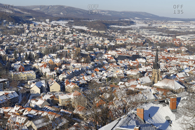 February 6, 2018: View over the old town of Wernigerode in morning light, Harz, Saxony-Anhalt, Germany