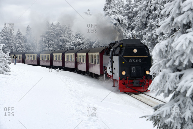 February 7, 2018: Brocken Railway on the way to Brocken (1142m), Harz, Saxony-Anhalt, Germany