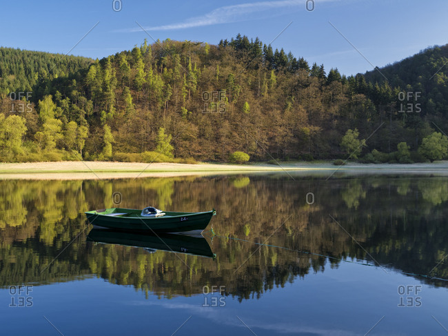 Germany, Hesse, Vohl, nature and national park Kellerwald-Edersee, boat on the Edersee at Ehrenberg, primeval forest trail