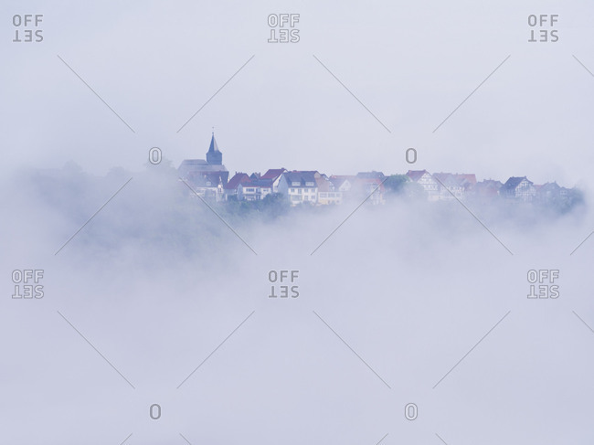 Germany, Hesse, Waldeck, nature and national park Kellerwald-Edersee, view from the Kanzel on town Waldeck, fog, Kellerwald trail, primeval forest trail