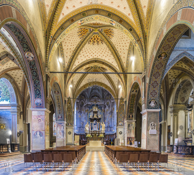 April 11, 2018: Nave of the cathedral San Lorenzo in Lugano