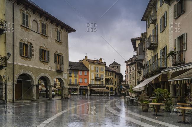 April 10, 2018: Piazza del Mercato in Domodossola, Piedmont, Italy