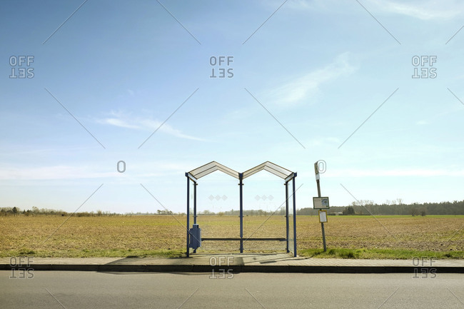 Bus stop, Brandenburg, Germany, wait, sparsely populated
