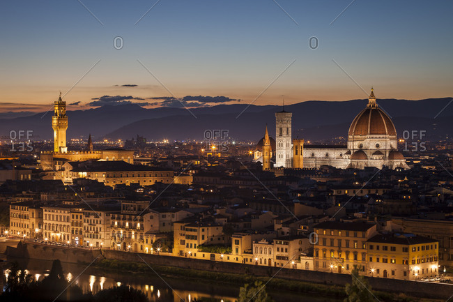 Florence, cityscape, evening mood, Tuscany, Italy, Europe,