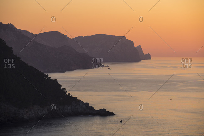 Sunset on the West coast at Banyalbufar, Mallorca, Balearic Islands, Spain