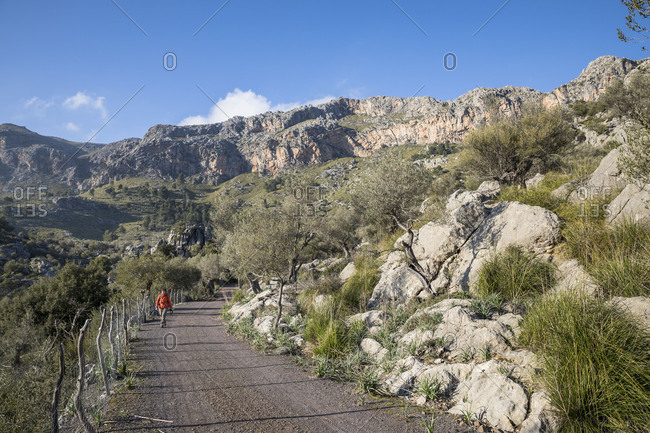 February 25, 2018: Walk around the Puig Roig, behind the rock walls of the Puig Roig, near Escorca, Mallorca, Balearic Islands, Spain